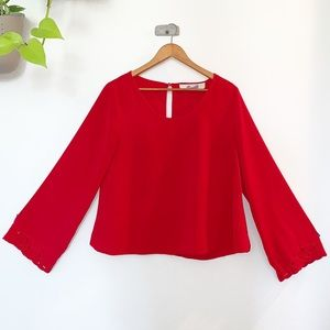 Long Sleeve Red Blouse